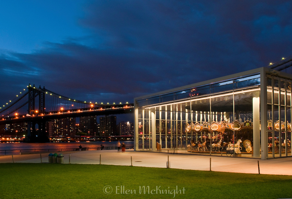 View of Manhattan Bridge and the Carousel at Brooklyn Bridge Park