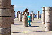 RABAT, MOROCCO - 27th May 2014 - Moroccan family enjoy visiting the Hassan Tower in Yacoub al-Mansour esplanade in Rabat, Morocco.