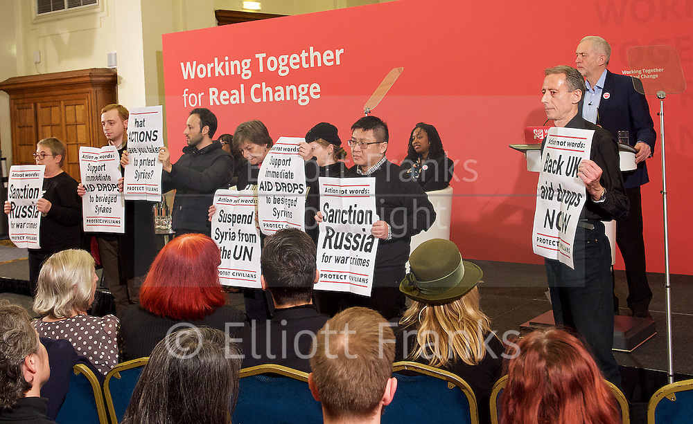 Jeremy Corbyn MP<br /> Human Rights speech and panel discussion <br /> Leader of the Labour Party <br /> arriving at Central Methodist Hall, Westminster, London, Great Britain <br /> 10th December 2016 <br /> <br /> Peter Tatchell <br /> protest <br /> <br /> Photograph by Elliott Franks <br /> Image licensed to Elliott Franks Photography Services