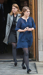 The Clinic, London.<br /> Princesses Beatrice and Eugenie leaving after visiting HRH The Duke of Edinburgh, London, UK, June 14, 2013. Photo by:  i-Images