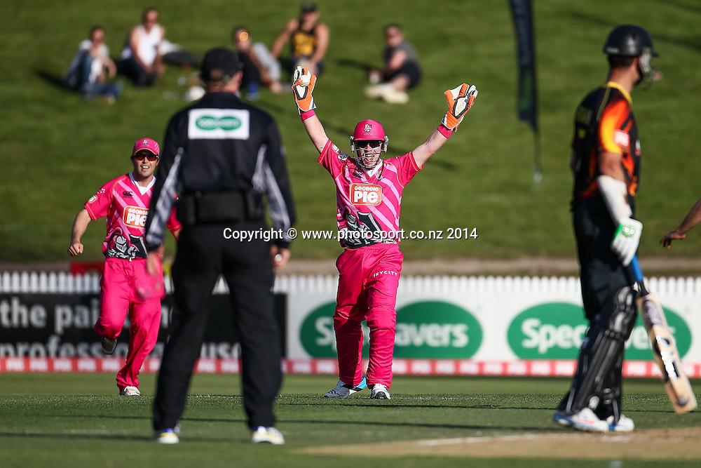 Northern Knight's Tim Seifert appeals during the Georgie Pie Super Smash T20 cricket match - Knights v Firebirds at Seddon Park, Hamilton, New Zealand on Saturday 1 November 2014.  Photo: Bruce Lim / www.photosport.co.nz