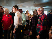 28 JANUARY 2020 - OSCEOLA, IOWA: PETE BUTTIGIEG walks among the crowd after speaking at a campaign event at the Clarke County Fairgrounds in Osceola, about 50 miles south of Des Moines. Buttigieg talked to a crowd of about 130 people in Osceola. Buttigieg, the former mayor of South Bend, Indiana, is running to be the Democratic nominee for President in the 2020 election. Iowa traditionally holds the first presidential selection event of the 2020 election cycle. The Iowa Caucuses are on Feb. 3, 2020.       PHOTO BY JACK KURTZ