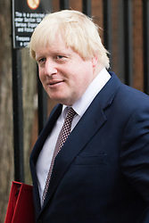 Downing Street, London, October 25th 2016. Foreign and Commonwealth Secretary Boris Johnson leaves10 Downing Street following the weekly cabinet meeting and the announcement that the construction of a third runway at Heathrow Airport has initial government approval.