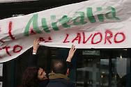 """Roma, 04 marzo 05: aereoporto """"Leonardo da Vinci"""", sciopero indetto contro la precarietà per i lavoratori del Gruppo Alitalia (AdR e AdR Handling - SEA e SEA Handling)"""