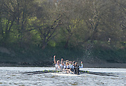 London, Great Britain, OXFORD UWBC, celebrate winning the fiirst women's race on the tideway,   Newton Women's Boat Race, Men's Race , Championship Course.  River Thames. Putney to Mortlake. ENGLAND. <br /> <br /> 17:09:36  Saturday  11/04/2015<br /> <br /> [Mandatory Credit; Peter Spurrier/Intersport-images]<br /> <br /> OUWBC Crew: <br /> Maxie SCHESKE, Anastasia CHITTY, Shelley PEARSON, Lauren KEDAR, Maddy BADCOTT, Emily REYNOLDS, Nadine GRAEDEL IBERG, Caryn DAVIES and Cox Jennifer EHR