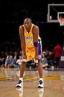 15 January 2010: Guard Kobe Bryant of the Los Angeles Lakers against the Los Angeles Clippers during the first half of the Lakers 126-86 victory over the Clippers at the STAPLES Center in Los Angeles, CA.