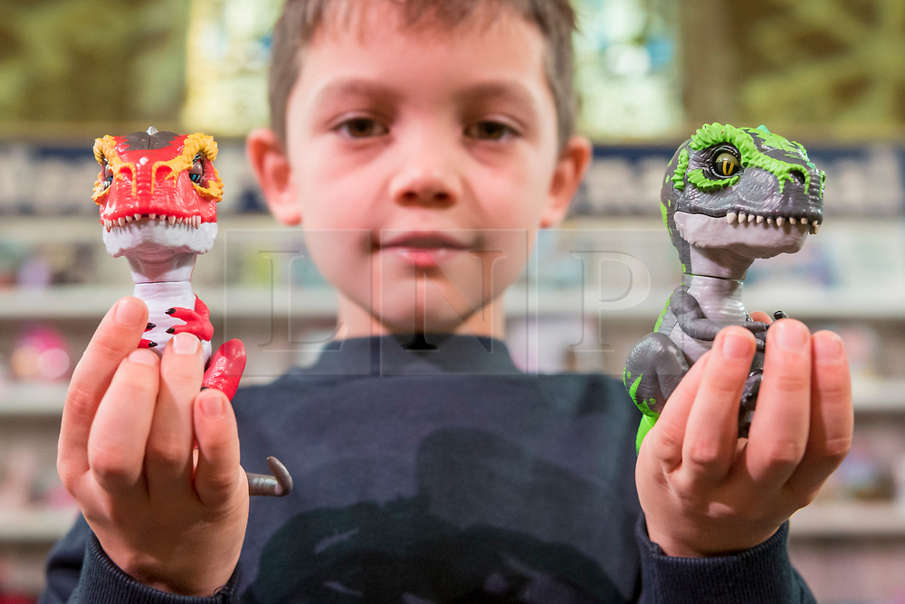 """© Licensed to London News Pictures. 14/11/2018. LONDON, UK. Harry, aged 8, plays with Untamed Jailbreak T-Rex Playset by Fingerlings. Preview of """"DreamToys"""", the official toys and games Christmas Preview, held at St Mary's church in Marylebone.  Recognised as the countdown to Christmas, the Toy Retailer's Association, an independent panel of leading UK toy retailers, have selected the definitive and most authoritative list of what toys will be the hottest property this Christmas. [Child models provided by show organisers, permission obtained to be photographed].  Photo credit: Stephen Chung/LNP"""