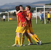 Jamie Wallace of Fintry Rovers is congratulated after scoring against Fife Thistle - Dundee Saturday Morning Football League<br /> <br />  - &copy; David Young - www.davidyoungphoto.co.uk - email: davidyoungphoto@gmail.com