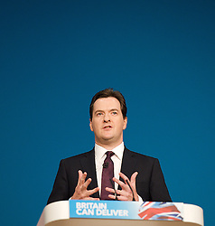 Rt Hon George Osborne MP, Chancellor of the Exchequer keynote speech during the Conservative Party Conference, ICC, Birmingham, Great Britain, October 8, 2012. Photo by Elliott Franks / i-Images.