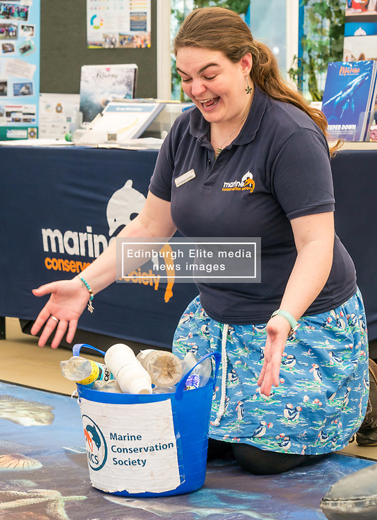 Dynamic Earth, Edinburgh, Scotland, United Kingdom, 9 April 2019. Edinburgh Science Festival:  learning about plastic pollution in the sea at Scrapbook: Fight Ocean Plastics from the Skies with Catherine Gemmell from Marine Conservation Society at Dynamic Earth at the Edinburgh Science Festival. <br /> <br /> Sally Anderson | EdinburghElitemedia.co.uk