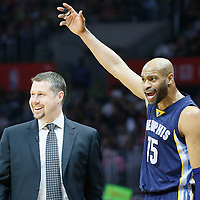 12 April 2016: Memphis Grizzlies guard Vince Carter (15) reacts next to Memphis Grizzlies head coach David Joerger during the Los Angeles Clippers 110-84 victory over the Memphis Grizzlies, at the Staples Center, Los Angeles, California, USA.