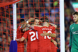 LIVERPOOL, ENGLAND - Wednesday, September 23, 2015: Liverpool's Danny Ings celebrates scoring the first goal against Carlisle United during the Football League Cup 3rd Round match at Anfield. (Pic by David Rawcliffe/Propaganda)