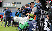 Photographers and press hard at work during the Japan Captain's Run training session in preparation for the Rugby World Cup at the American Express Community Stadium, Brighton and Hove, England on 18 September 2015.