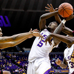 Jan 5, 2013; Baton Rouge, LA, USA; Bethune-Cookman Wildcats forward Javoris Bryant (left) and forward Alex Smith (right) defend LSU Tigers forward Shavon Coleman (5) during the second half of a game at the Pete Maravich Assembly Center. LSU defeated Bethune-Cookman 79-63. Mandatory Credit: Derick E. Hingle-USA TODAY Sports