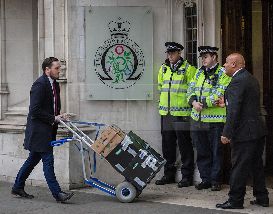© Licensed to London News Pictures. 08/12/2016. London, UK. Boxes of legal documents arrive at the Supreme Court in Westminster, London, where the fourth and final day of the government's appeal against an earlier High Court ruling, on the process for invoking Article 50 to leave the European Union, is taking place. The High Court decision of 3 November 2016, in favour of lead claimant Gina Miller, ruled that parliament must be given a vote before Brexit negotiations can begin. Photo credit: Rob Pinney/LNP