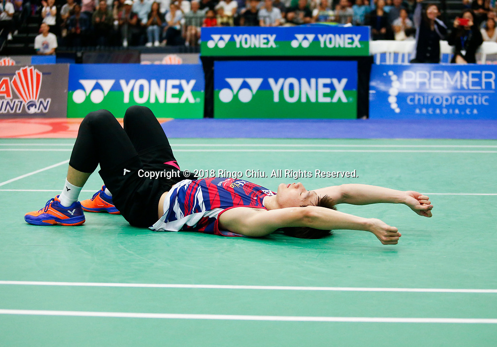 Lee Dong Keun of Korea, celebrates after defeating Mark Caljouw of Netherland, during the men's singles final match at the U.S. Open Badminton Championships in Fullerton, California, on June 17, 2018. Lee won 2-1. (Photo by Ringo Chiu)<br /> <br /> Usage Notes: This content is intended for editorial use only. For other uses, additional clearances may be required.
