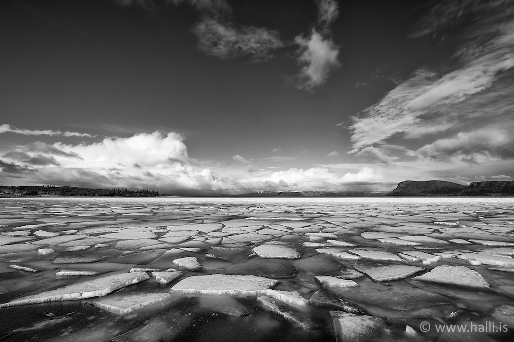 Ice cap at the lake Thingvallavatn, south Iceland