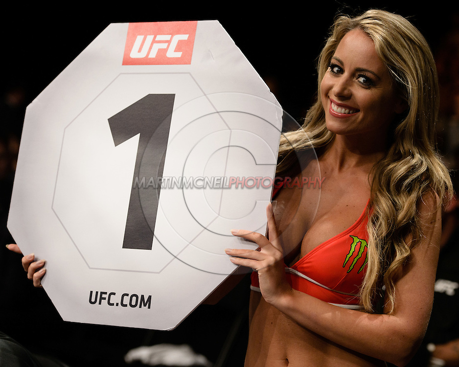 "GLASGOW, SCOTLAND, JULY 18, 2015: Carly Baker readies for the first round of a fight during ""UFC Fight Night 72: Bisping vs. Leites"" inside the SSE Hydro Arena in Glasgow, Scotland (Martin McNeil for ESPN)"