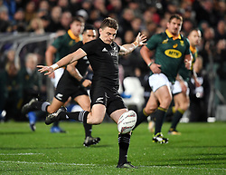 New Zealand's Beauden Barrett clears against South Africa in the Investic Championship rugby test match at QBE Stadium, Albany, Auckland New Zealand, Saturday, September 16, 2017. Credit:SNPA / Ross Setford** NO ARCHIVING**