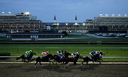 """My Boy Jo ridden by Robby Albarado wins the Cao Wabo at Churchill Downs during the first """"Downs after Dark"""" night racing for the first time in the racetrack's 135 year history Friday, June 19, 2009. Photo by Jonathan Palmer"""