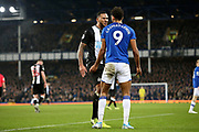 Newcastle United defender Jamaal Lascelles (6) confronts Everton forward Dominic Calvert-Lewin (9)  during the Premier League match between Everton and Newcastle United at Goodison Park, Liverpool, England on 21 January 2020.