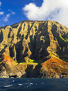 View of Kauai's Na Pali Coast, taken from a boat.