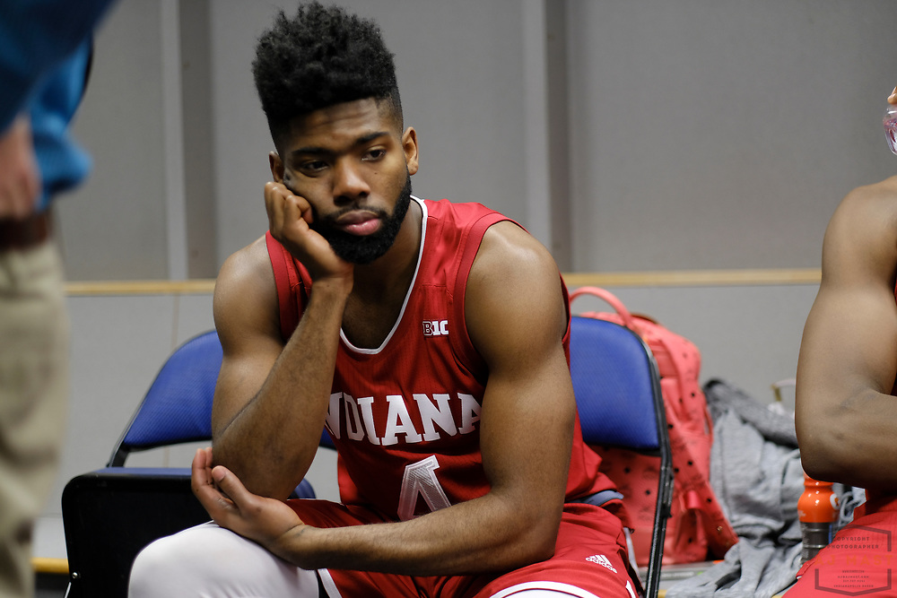 Indiana guard Robert Johnson (4)  after Indiana played Wisconsin in an NCCA college basketball game in the third round of the Big 10 tournament in Washington, D.C., Friday, March 10, 2017. (AJ Mast)