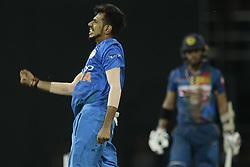 March 12, 2018 - Colombo, Sri Lanka - Indian cricketer Yuzvendra Chahal celebrates after taking a wicket during the 4th Twenty-20 cricket match of NIDAHAS Trophy between Sri Lanka  and India at R Premadasa cricket ground, Colombo, Sri Lanka on Monday 12 March 2018. (Credit Image: © Tharaka Basnayaka/NurPhoto via ZUMA Press)