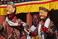 Mask dance performance at Tshechu Festival, Punakha Dzong, Punakha, Bhutan