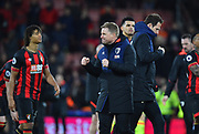 AFC Bournemouth manager Eddie Howe celebrates the 4-0 win over Chelsea at full time during the Premier League match between Bournemouth and Chelsea at the Vitality Stadium, Bournemouth, England on 30 January 2019.