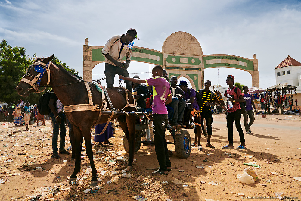 A coachman gets ready for departure behind the gate of the holy city of Touba - the inexpensive horse-drawn carriages are still a frequently used means of transport in the traffic jam-prone town of Touba. An inscription on the gate says that all sins will be forgiven to anyone who passes through it.