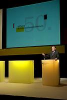 23 OCT 2003, BERLIN/GERMANY:<br /> Gerhard Schroeder, SPD, Bundeskanzler, haelt eine Rede, anlaesslich der 50-Jahr-Feier des Bundesfamilienministeriums, Berliner Ensemble<br /> IMAGE: 20031023-01-029<br /> KEYWORDS: Gerhard Schöder, speech