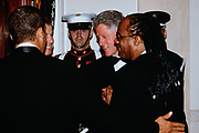 Musician Stevie Wonder is introduced to U.S. President Bill Clinton and British Prime Minister Tony Blair during the State Dinner honoring Blair at the White House February 5, 1998 in Washington, DC. Wonder performed with fellow musician Elton John at the dinner.
