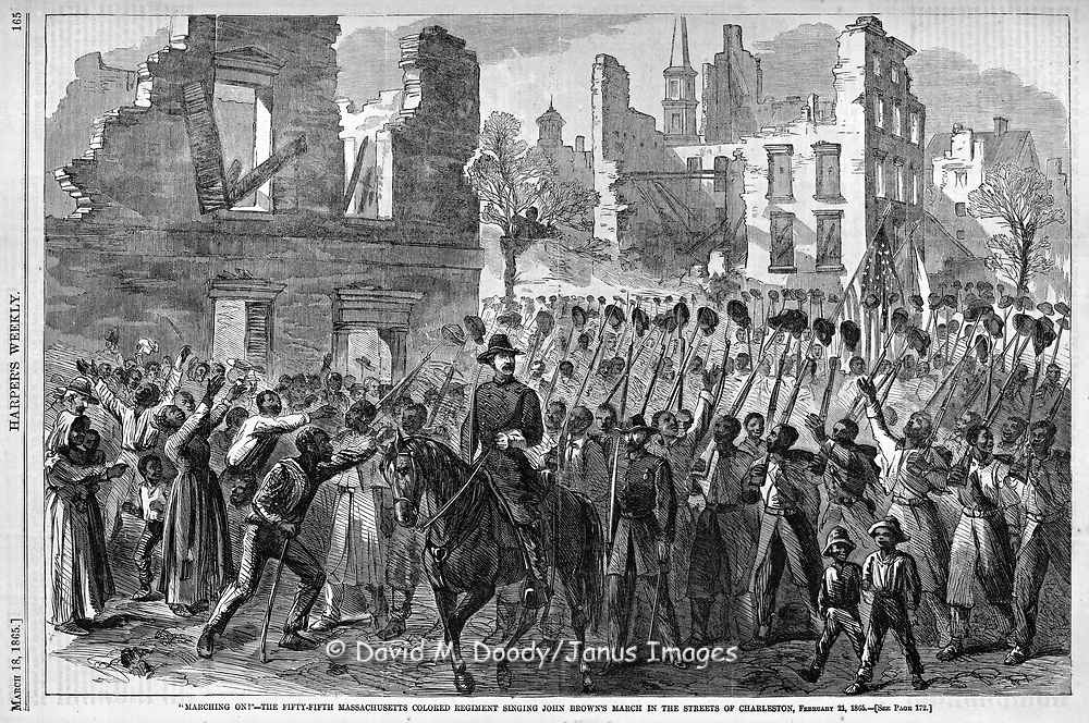 """Civil War: 55th Massachusetts Colored Regiment.  Singing """"John Brown's March""""  February 21, 1865. slaves welcome Union troops, in the ruins of Charleston, South Carolina.  March 1865 Harper's Weekly  Blacks. African-Americans citizens greeting black troops."""