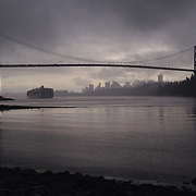 Lions Gate Bridge at the end of the storm, Vancouver BC<br />