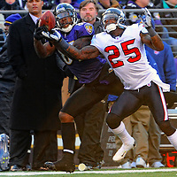 15 January 2012: Baltimore Ravens wide receiver Anquan Boldin (81) pulls in a pass in the second quarter against Houston Texans cornerback Kareem Jackson (25) in the Divisional Playoff at M&T Bank Stadium in Baltimore, MD. The Ravens defeated the Texans 20-13 to advance to the AFC Championship game..