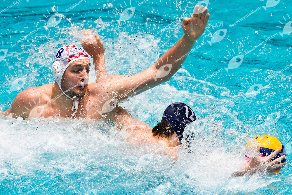 Eindhoven , Netherlands (NED) 16 - 29 January 2012.LEN European  Water Polo Championships 2012.Day 13 - Men.CRO (White) - NED (Blue)..CRO.8 BUSLJE Andro.NED.12 LUCAS Matthijs..Photo G.Scala/Deepbluemedia.eu