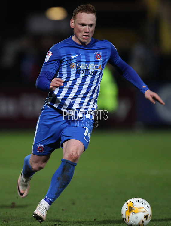 Michael Woods of Hartlepool United in action during the EFL Sky Bet League 2 match between Cambridge United and Hartlepool United at the Cambs Glass Stadium, Cambridge, England on 14 March 2017. Photo by Harry Hubbard.
