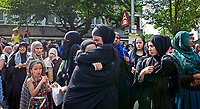 18 June 2017.<br /> <br /> With temperatures of almost 30C -hundreds of mourners from the local community joined together in solidarity for an outdoor prayer service held by a group from the local mosque. Muslims came out to honour the dead despite being in the middle of Ramadan.