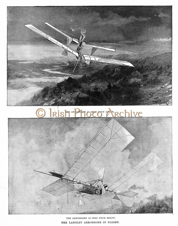 Samuel Pierpont Langley (1834-1906), American astronomer and aeronautical pioneer. Langley's steam-powered model plane 'Aerodrome' viewed from above and below. In 1896 Aerodrome 5 flew 3/4 mile. From 'Scientific American', November 1902