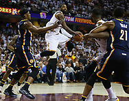 April 17, 2017 - Cleveland, OH, USA - Cleveland Cavaliers guard Kyrie Irving passes the ball in mid-air against the Indiana Pacers during the third quarter in Game 2 of an Eastern Conference playoff game on Monday, April 17, 2017, at Quicken Loans Arena in Cleveland, Ohio. (Credit Image: © Leah Klafczynski/TNS via ZUMA Wire)