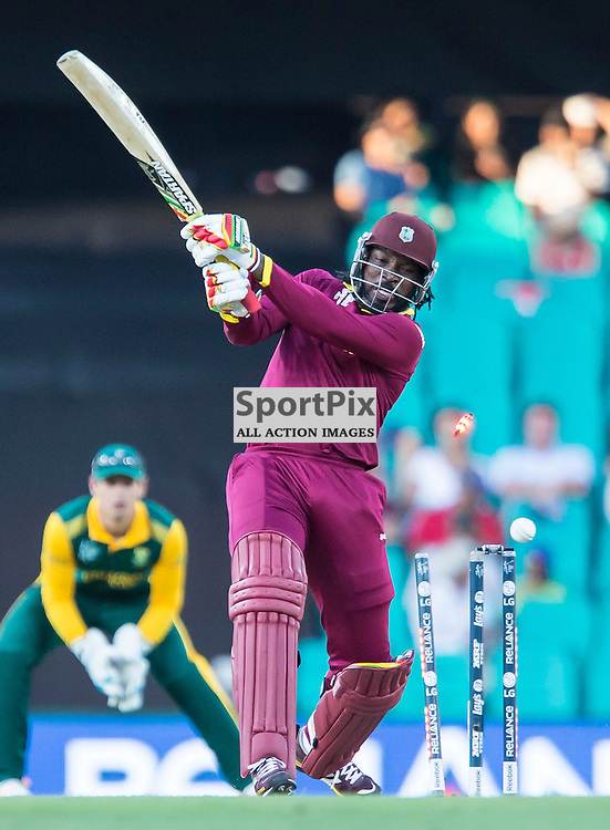 ICC Cricket World Cup 2015 Tournament Match, South Africa v West Indies, Sydney Cricket Ground; 27th February 2015<br /> West Indies Chris Gayle bowled by South Africa&rsquo;s Kyle Abbott