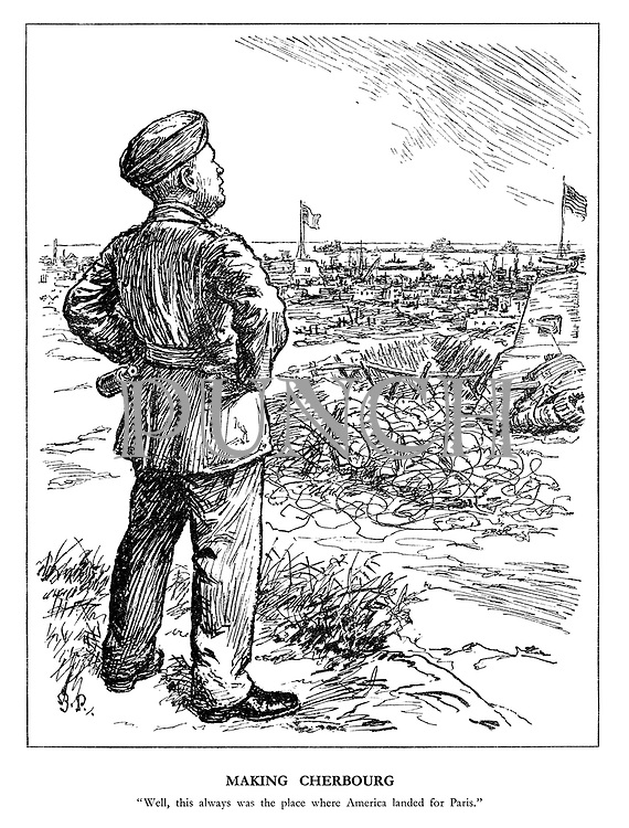 """Making Cherbourg. """"Well, this always was the place where America landed for Paris."""" (Eisenhower views the landing of his armies amid American and French flags and abandoned German defences)"""