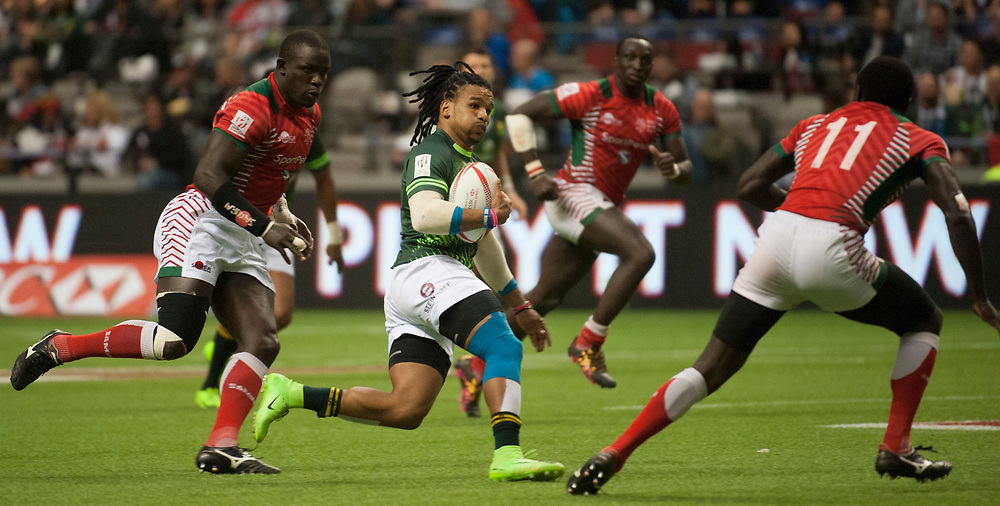 Rosco Specman of South Africa runs in a try against Kenya during the pool stages of the Canada Sevens,  Round Six of the World Rugby HSBC Sevens Series in Vancouver, British Columbia, Saturday March 11, 2017. <br /> <br /> Jack Megaw.<br /> <br /> www.jackmegaw.com<br /> <br /> jack@jackmegaw.com<br /> @jackmegawphoto<br /> [US] +1 610.764.3094<br /> [UK] +44 07481 764811