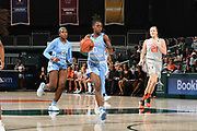 January 20, 2019: Shayla Bennett #0 of North Carolina in action during the NCAA basketball game between the Miami Hurricanes and the North Carolina Tar Heels in Coral Gables, Florida. The 'Canes defeated the Tar Heels 76-68.