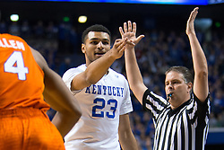 Kentucky guard Jamal Murray, center, celebrates a three point basket in the first half.<br /> <br /> The University of Kentucky hosted the University of Florida, Saturday, Feb. 06, 2016 at Rupp Arena in Lexington .
