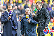 BT summarisers for the match, Rio Ferdinand, Graham Taylor and Jake Humphrey during the The FA Cup match between Crystal Palace and Watford at Wembley Stadium, London, England on 24 April 2016. Photo by Shane Healey.