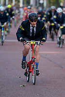 Competitors racing in The Brompton World Championship. Saturday 28th July 2018<br /> <br /> Photo: Bob Martin for Prudential RideLondon<br /> <br /> Prudential RideLondon is the world's greatest festival of cycling, involving 100,000+ cyclists - from Olympic champions to a free family fun ride - riding in events over closed roads in London and Surrey over the weekend of 28th and 29th July 2018<br /> <br /> See www.PrudentialRideLondon.co.uk for more.<br /> <br /> For further information: media@londonmarathonevents.co.uk