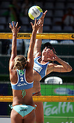 Eileen Romanowski (Aust) spikes during the NZ Beach Volleyball Open at Stanley St, Auckland, 20 January 2006. Photo: Tim Hales/PHOTOSPORT<br />
