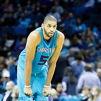01 November 2015: Charlotte Hornets forward Nicolas Batum (5) rests during the Atlanta Hawks 94-92 victory over the Charlotte Hornets, at the Time Warner Cable Arena, in Charlotte, North Carolina, USA.